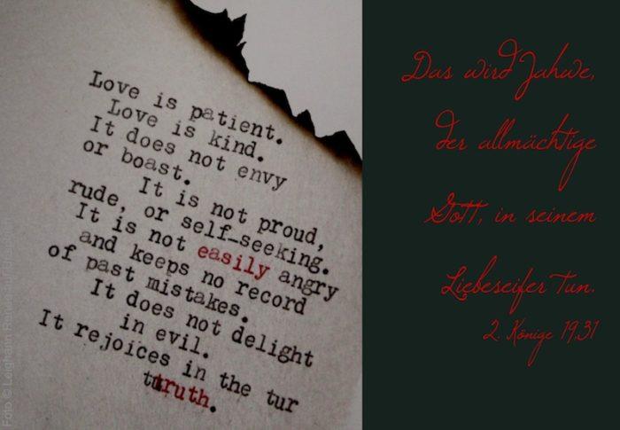 Love is patient... (maschinegeschrieben)