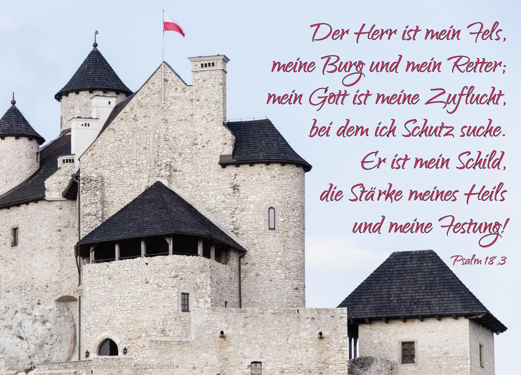 weiße Burg mit schwarzen Dächern