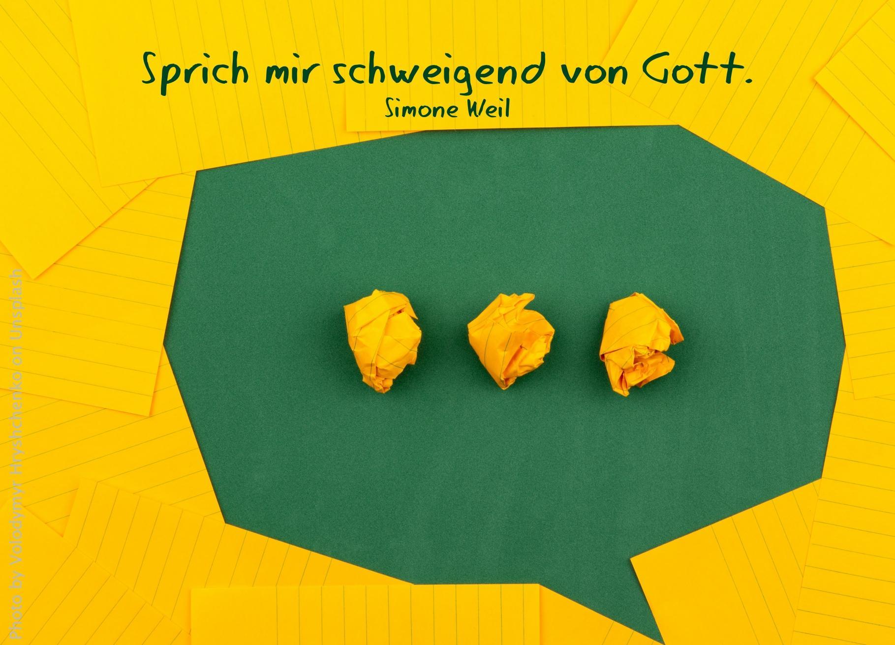 Grüne Sprechblase, gelb eingerahmt mit drei gelben Papierkugeln