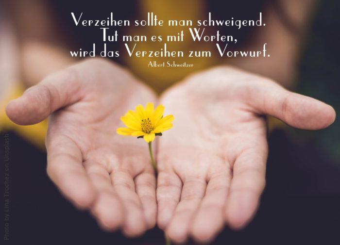 Offene Handflächen halten eine gelbe Blume
