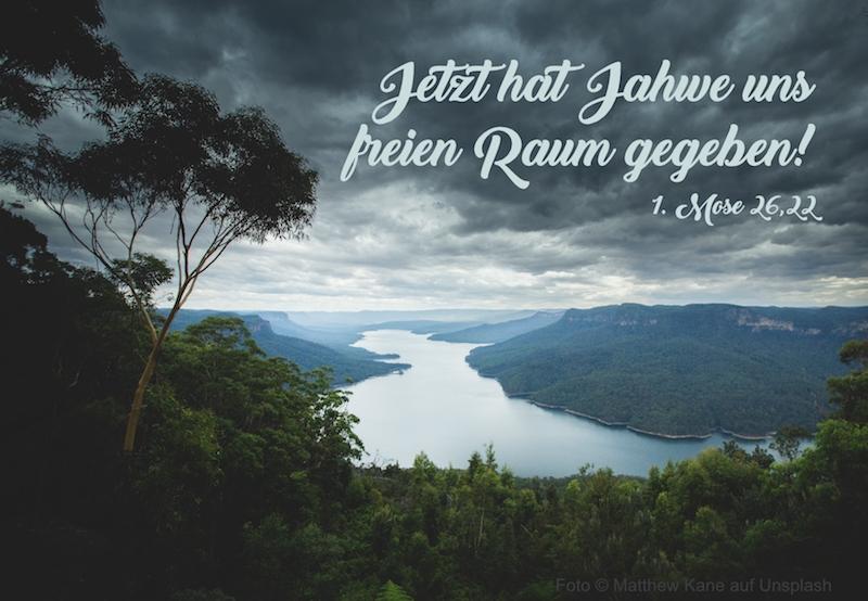 Aussicht von bewaldetem Berg auf Flusstal