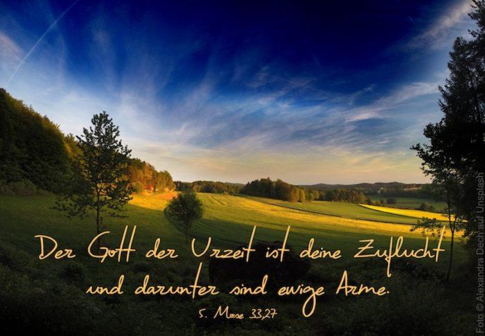 Landschaft mit blauem Himmel über Feldern und Wiesen