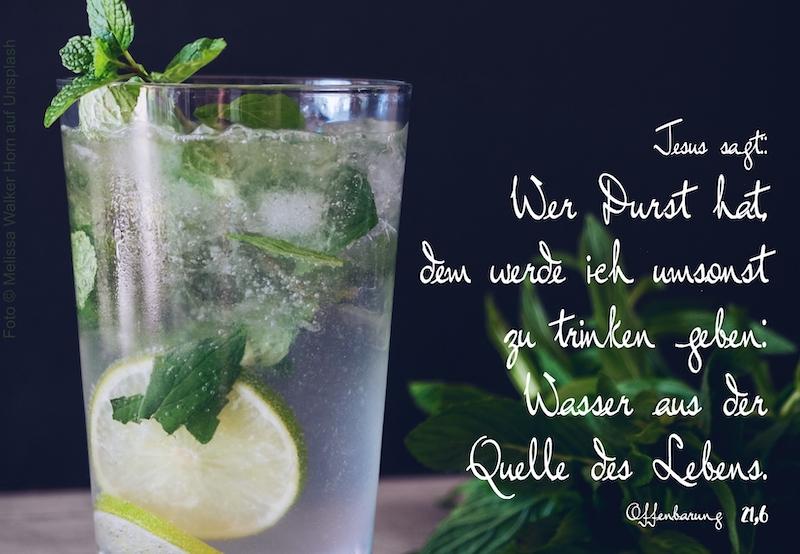 Glas Wasser mit Zitrone und Minze