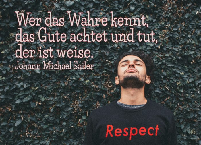 Mann mit T-shirt mit Aufschrift Respect